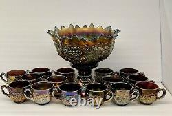 Northwood Grape & Cable Carnival Glass Glass Punch Bowl / Base / 15 Cups WOW