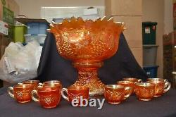 Northwood MASTER Grape & Cable Marigold 14 Piece Punch Set Very Nice