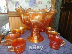 Northwood Marigold Carnival Glass Peacock at the Fountain Punch Bowl and 8 Cups