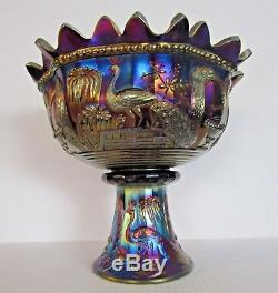 Northwood Peacock at the Fountain Amethyst Electric Carnival Glass Punch Bowl
