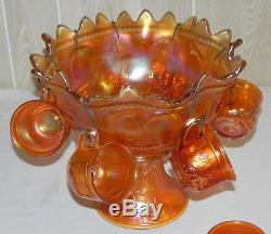 Northwood Peacock at the Fountain Marigold Carnival Glass Punch Bowl 14 Piece