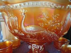 Northwood Peacock at the Fountain Marigold Carnival Glass Punch Bowl Set