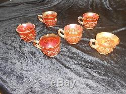 Northwood carnival Glass Memphis Punch Bowl Marigold 6 cups