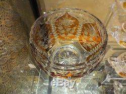 Older Bohemian Art Glass Punch Bowl Set