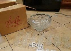 Original L. E. Smith Glass Punch Bowl 18 Cups Ladle Box Rare Lot Vintage Art VTG