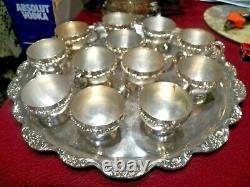 Ornate Silver-plate Punch Bowl w 12 Cups, Glass Ladle & Lg. Tray EPCA by Poole