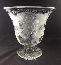 PAIRPOINT Intaglio Engraved Cut Glass Footed 9 Grape Juice Punch Bowl HTF