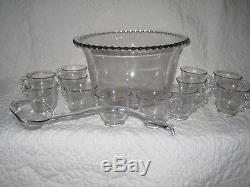 PUNCH BOWL LADLE & 12 CUPS MUGS Imperial Clear Glass Candlewick Set