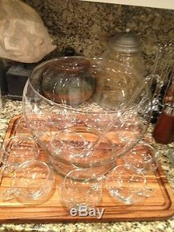 Party Mid-Century MODERN Glass Crystal Punch Bowl Set With 10 Cups! With Ladel