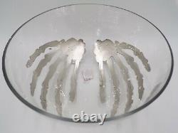 Pottery Barn Skeleton Hand Halloween Punch Snack Glass Bowl ONLY 11 Diam #4507