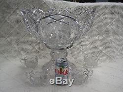 Prescut Huge Punch Bowl, Pedestal, and 4 Cups Beautiful