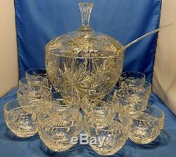 Pretty Vintage heavy (17+ lb) Nachtmann Kristall Punch bowl, lid, 12 cups spoon