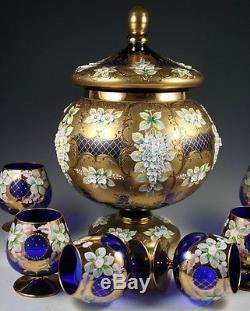 Punch Bowl Cobalt W 6 Glasses Blue 24k Glass Beaitful Flower