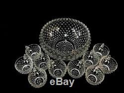 Punch Bowl Fenton Hobnail Set Bubble Glass Party Cocktail Crystal 10 Cup Vintage