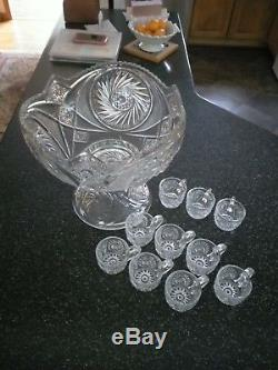 Punch Bowl Set, Antique American Brilliant Cut Glass from the early 1900's. Exce