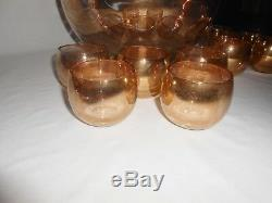 Punch Bowl Set West Virginia Glass Specialty Gold Splatter Optic Loop 12 Pieces