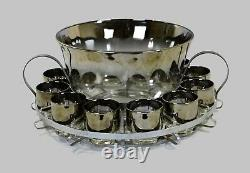 Punch Bowl Set With Caddy Vintage Dorothy Thorpe Style Silver Ombre Twelve Cup