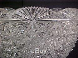 Punch Bowl-large-american Brilliant-lead Crystal-13-1/2 High X 10-3/4 Across-u