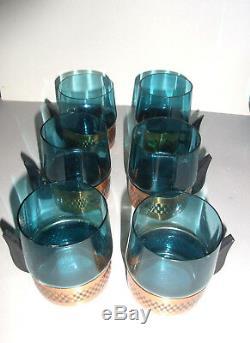 Punch Bowl lidded 12 Glasses danish design Midcentury copper bakelit