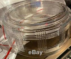 RALPH LAUREN Glen Plaid Crystal Punch Bowl Centerpiece 9.5x4.5 RARE EUC