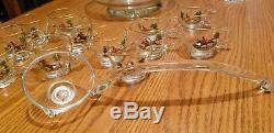 RARE! 1960s A. Erbe Fox Hunters WEST VIRGINIA GLASS Enamel Paint PUNCH BOWL SET