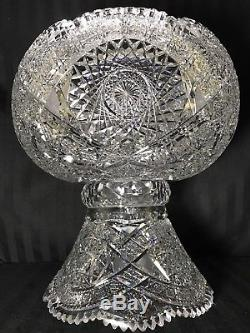RARE ANTIQUE ABP SUPERIOR 25 Lb HEAVY BALL SHAPE CUT GLASS PUNCH BOWL