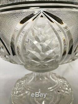 RARE ANTIQUE ANGLO IRISH CUT GLASS GOTHIC REVIVAL PUNCH BOWL/ CENTERPIECE c1840