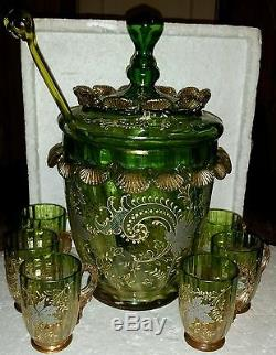 Rare Antique Hand Blown Murano Glass Punch Bowl Cups & Ladle Enameled & Gold