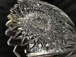 RARE ANTIQUE VICTORIAN ABP LARGE HEAVY THICK BLOWN 15 lb. CUT GLASS PUNCH BOWL