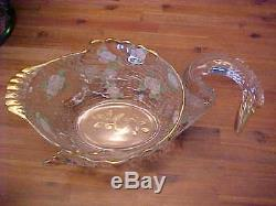 RARE CAMBRIDGE PUNCH BOWL SWAN GOLD AND FLORAL DECORATED