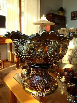 RARE CARNIVAL GLASS Banquet Size Northwood Grape Cable Punch Bowl 10 Cups Stand