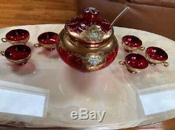 RARE COLOR Murano RED Glass Italian Punch Bowl Set Bowl Ladle 6 Cups LARGE ITALY