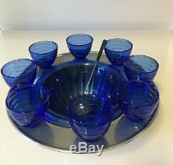 RARE Hazel Atlas Moderntone Cobalt Blue 11 Piece Punch Bowl Set Complete