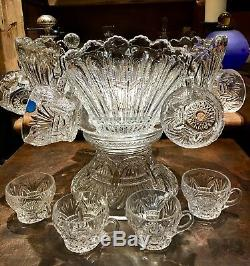RARE Heisey PRINCE of WALES Plumes 14 Punch Bowl +10 cups + Pedestal EAPG