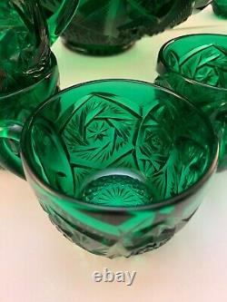 RARE Imperial Glass Ohio Emerald Green Whirling Star 24 Piece Punch Bowl Set