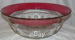 RARE Indiana KINGS CROWN RUBY FLASHED PUNCH BOWL withFOOTED BASE