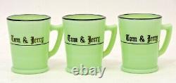 RARE MCKEE JADEITE GLASS TOM & JERRY PUNCH BOWL With SIX GLASSES ORIGINAL BOX