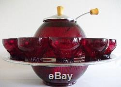 RARE New Martinsville Glass Art Deco Top Prize Punch Bowl Set 1930s