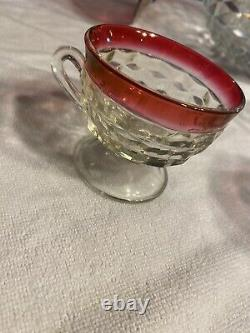 'RARE''Vintage Ruby Flash Wexford Glass Punch Bowl Set 18 cups, Anchor Hocking
