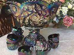 RARE Westmoreland Black Carnival Buzz Saw Punch Bowl + 12 Punch Cups