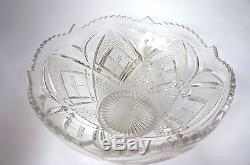 Reduced Again! Lovely Cut Glass Victorian Punch Bowl With Punch Cups