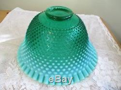 Rare 1 of 500 Fenton Green Opalescent Hobnail Punch Bowl with 12 Cups