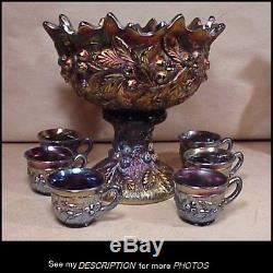 Rare 8pc Northwood Amethyst Carnival Glass Punch Bowl Set Acorn Burrs Pattern