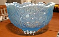 Rare! Amazing Blue Crystal Hobstars Punch Bowl