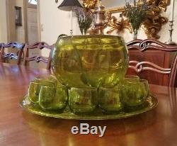 Rare American Decorative Mouth Blown Chartreuse Glass Punch Bowl Set Blenko