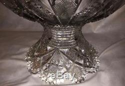 Rare Antique Abp Signed Hawkes Heavy 15 Cut Glass Punch Bowl