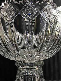 Rare Antique Abp Signed Hawkes Superior Heavy Brunswick 15 Cut Glass Punch Bowl