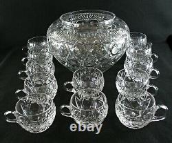 Rare Antique BACCARAT Finest Flawless Crystal Punch Bowl & 12 Matching Cups