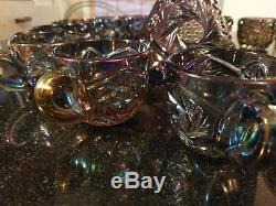 Rare Antique Carival Glass Rainbow Iridescent Punch Bowl on Base and 14 Cups