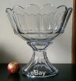 Rare Antique Heisey Punch Bowl No. 429 Plain Panel Recess Vnm 1911-1924